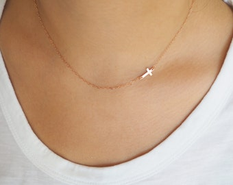 Rose Gold Cross Necklace, Off Side Cross Necklace, Rose Gold Necklace
