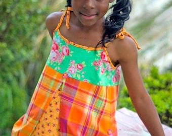 Girls summer orange green madras flower Jumper Dress Size 12 months to 12 yrs - Papaye