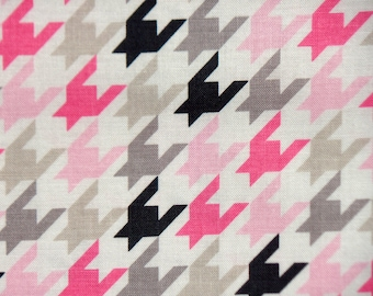 Riley Blake Designs Pink Grey Houndstooth -  Riley Blake Quilters Cotton Woven Fabric - Baby Girl Quilt Fabric -  The Fabric Zoo