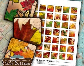 Autumn Leaves, Collage Sheets, 1x1 Inch Squares, Digital Download, Pendant Images, Decoupage Paper, Fall Collage Sheet, 1x1 Collage Sheet