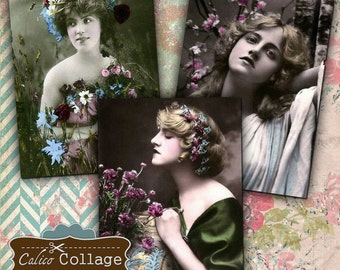 Flowers for my Lady Digital Collage Sheet Vintage Ladies 2.5 ATC Size Gift Tags Mini Cards Printable Images Decoupage Paper