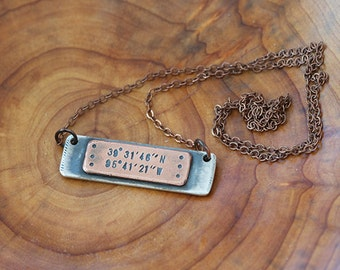 Latitude Longitude Mixed Metal Plate Necklace (E0484)