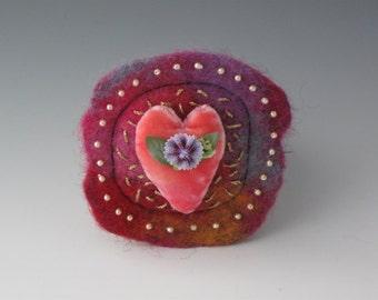 Heart Brooch, Heart Pin, Brooch, Felted Pin, Valentines Day Brooch, Valentines Day Pin