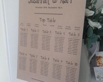 1 x Rustic/Vintage/Shabby Chic Kraft Manila A3 Wedding Table Seating Plan