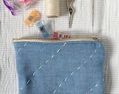 Blue zipper  pouch - coin...