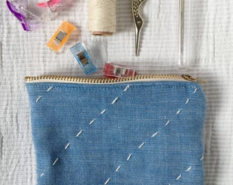 Blue zipper  pouch - coin purse - hand stitched - hand quilted - upcycled