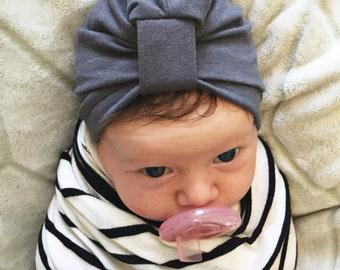 Dark Gray Baby Turban hat
