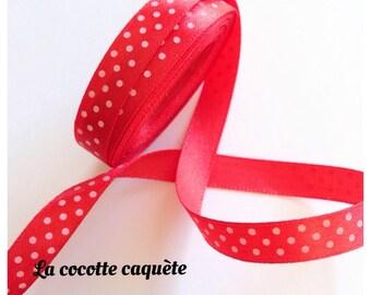 1 meter Ribbon satin red polka dots width 9 mm