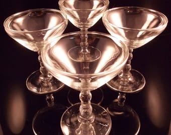 Vintage Libbey Glassware Champagne Coupes Bubble Stem Set of 4