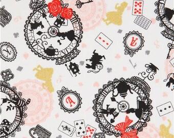 217802 white Alice in Wonderland gold metallic fairy tale oxford fabric by Kokka