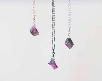 Rough Tourmaline Necklace on Rose Gold Filled, Oxidized Sterling or Sterling Silver Chain, Tiny Raw Watermelon Tourmaline Nugget Necklace