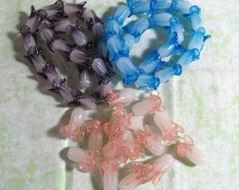 Handmade Flower Lampwork Beads (B95f/414b-c)