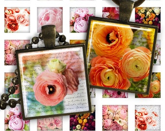 75% OFF SALE Digital Collage Sheets Peonies - 1 inch square size image for pendants glass cabochons charms resin digital image magnets image
