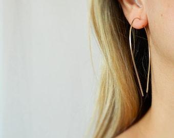 Large Hoop Earrings, Arc Earrings, Big Hoop Earrings, Gold Hoop Earrings, Hook Earrings, Hoop Earrings, Silver Earrings, Upside Down Hoop