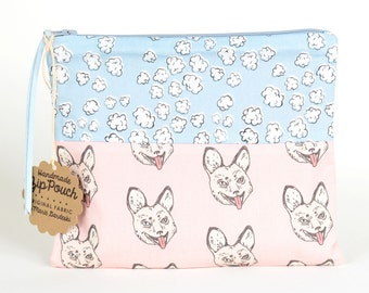 Popcorn Clouds +  Crazy Fox Flat Patchwork Pouch   Cute and Quirky Original Fabric