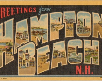 Linen Postcard, Greetings from Hampton Beach, New Hampshire, Large Letter, 1952