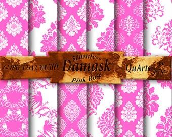 Pink Rose Damask Scrapbook Digital Paper Pack - Printable Patterns - Instant Download - 12x12 - QuartCrafts
