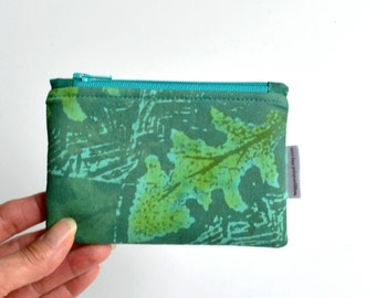 Green Coin Purse, Hand Printed Zipper Pouch, Leaf, Green, Blue, Teal, Aqua
