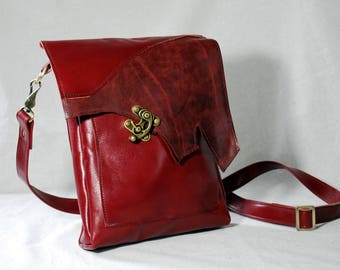 Cherry Red Leather Crossbody Bag/Leather Purse/ Reclaimed Leather Bag