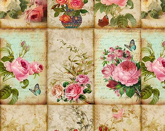 Flowers Scrapbooking Paper Decoupage Paper A4 Decoupage supplies Craft Projects Floral Patterns #508