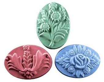 Flower Soap, Soap Set, Novelty Soap, Bath Soap, Set of 3 Large Bars, You pick scent & color