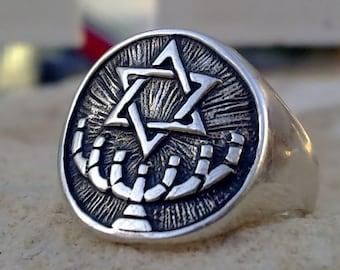 solid sterling silver 925 MENORAH temple symbol jewish KABBALAH RING