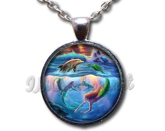 Mermaid Swimming with Dolphin Glass Dome Pendant or with Chain Link Necklace