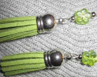 Clearance - Tassel Collection-Lime Tassels with Flower Accent Earrings