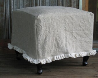 Ruffled Linen Slipcover for your Ottoman