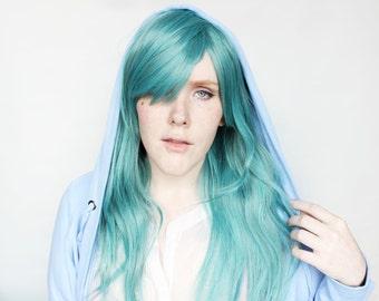 Long Teal wig | Wavy Green wig with bangs | Cosplay wig, Scene wig | Scene Emo wig | Sea Lights