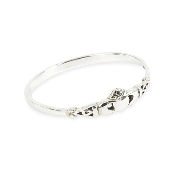 Solid 925 Sterling Silver Claddagh stacking Ring in sizes G-Z pkurE