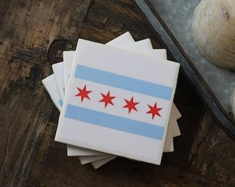 Chicago Flag Coasters, Chicago Coasters, Chicago, Coasters, Tile Coasters, Drink Coasters, Handmade Coasters, Coaster Set of 4, Chicago Flag