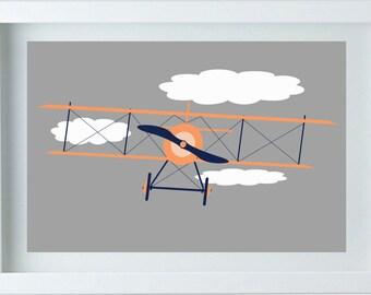 Airplane Nursery Decor - Wall Art Aviation Print Orange Navy Blue Art Home Decor Kids room One - 8X10 Prints - Boy's Room Baby's room