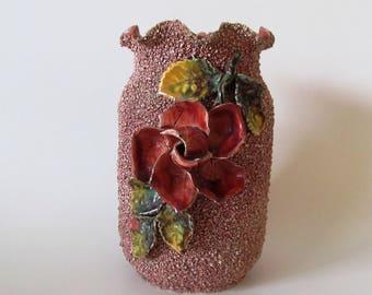 Sand Glazed Majolica Vase, Vintage, Deep Rose