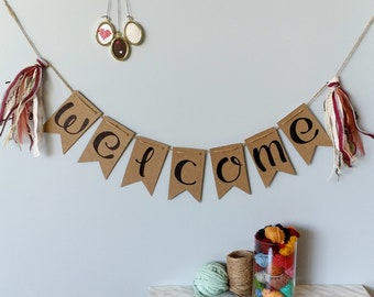 WELCOME- Recycled kraft handlettered bunting banner with vintage fiber tassels- handmade boho wedding home decor, shabby chic welcome banner