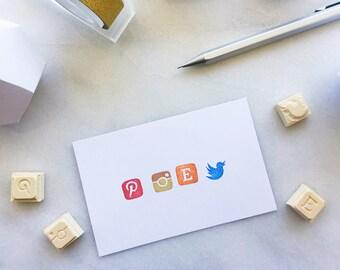Social media icon rubber stamps, hand carved rubber stamp,etsy, facebook, instagram, twitter, pinterest