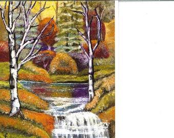 Fall trees and waterfall acrylic  print Lindy greeting card