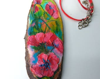 Poppy bouquet-Pendant-Red Poppies-Pendant Necklace-Painted Wood Slice-Boho-Original accessory-Gift for her-Embossed Painting with Acrylic