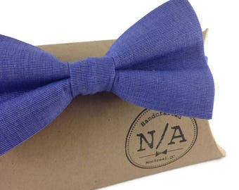 Blue bow tie, adjustable bow tie, bow tie for men, cotton bow tie, pre-tied