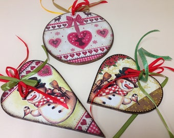 3 set Wooden Christmas Ornament. Wooden handmade Heart . Christmas ornaments. Handmade Christmas tree ornaments. Xmas decor