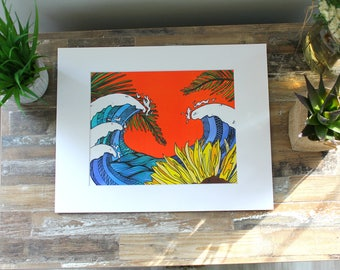 Watercolor Print- Sunflower and Waves