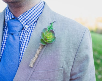 SET OF 3 Handmade Succulent Boutonniere Set (1 Groom 2 Groomsmen), Wedding Boutonnieres, Rustic Wedding