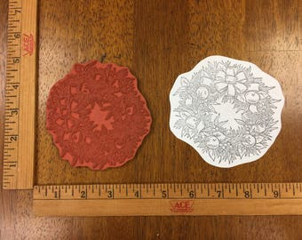 Christmas Wreath Rubber Stamp Cardmaking Scrapbooking Collage