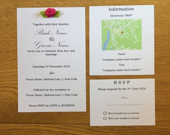 Rose Wedding Invitation. Handmade Wedding Invitation, Bespoke, Homemade, Wedding Set, RSVP