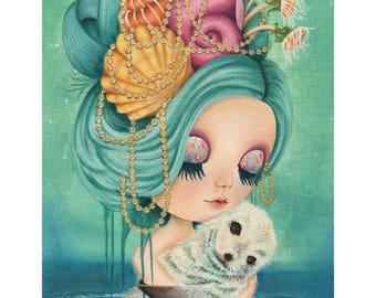Nixie limited edition Blythe doll giclée print big eyes art