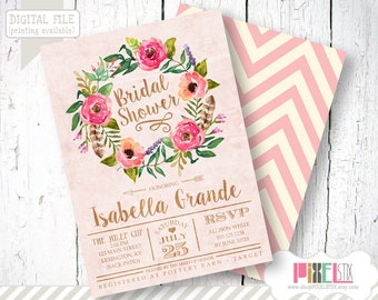 Rustic Floral Bridal Shower Invitation, Watercolor Flowers Wreath - CUSTOMIZABLE PRINTABLE INVITATION - Tea Stained Style