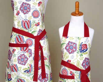 Mommy and Me Apron Set Mother Daughter Apron Set Red Matching Apron Set
