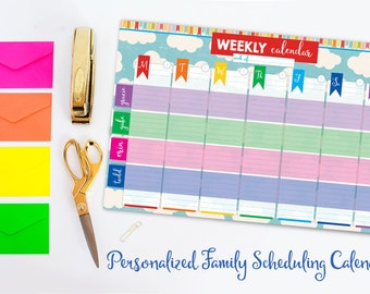 """Personalized Family Scheduling Calendar 11"""" x 17"""" Notepad"""