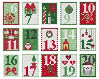Cross stitch pattern ADVENT CALENDAR  embroidery pattern,needlepoint,cross stitch,modern christmas,xmas,christmas advent,anette eriksson,diy