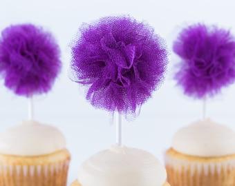 Dark Purple Tulle Pom- cupcake pom pom- Tulle pom- Halloween decor- Halloween party- Princess party- Royal party